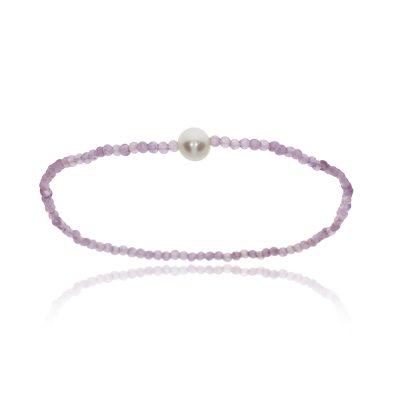 Amethyst freshawater pearl bracelet elasticated bead