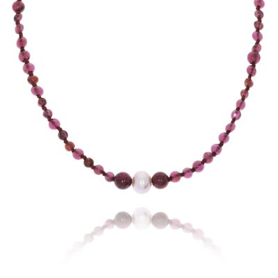 Garnet and pearl long double necklace bracelet pink necklace