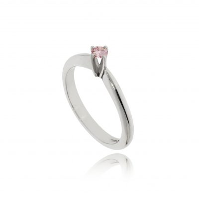 Pink diamond platinum ring princess setting natural pink diamond pink stone white metal