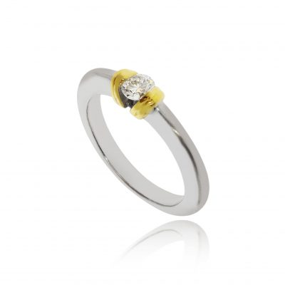 White gold diamond ring yellow gold setting unusual ring white metal mixed metal