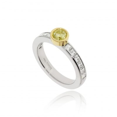 modern contemporary yellow diamond geometric yellow and white gold engagement ring