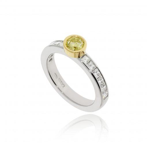 modern contemporary yellow diamond geometric yellow and white gold engagement ring
