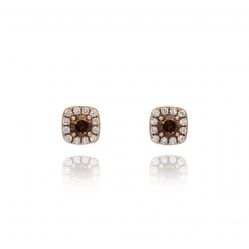 brown chocolate diamond studs 18ct rose gold pink metal brwn earrings chocolate colour studs halo