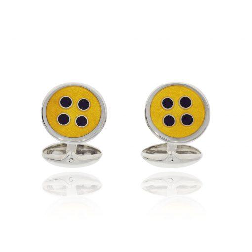 Yellow enamel hinged button fun quirky cufflinks silver