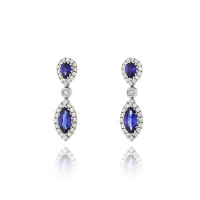 sapphire diamond drops earrings diamond halo roayl blue sapphire