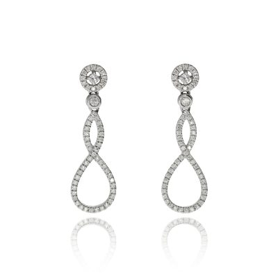 18ct white gold diamond cluster earrings drop pave set diamond halo