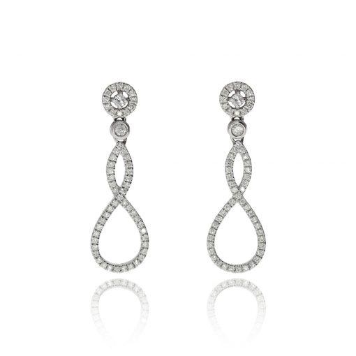 18ct white gold diamond cluster earrings drop pave set diamond halo