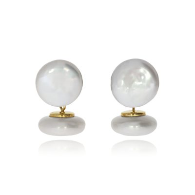 yellow gold freshwater pearl cufflinks chain