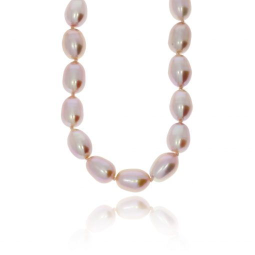 Pink pearl necklace organic shape baroque clasp pink pearls