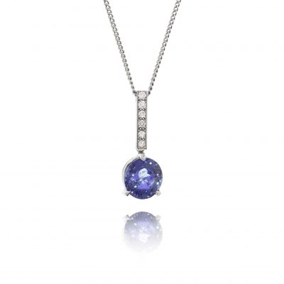 sapphire diamond pendant 18ct white gold necklace evening wear statement necklace