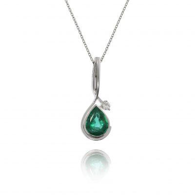 emerald diamond necklace 18ct white gold pendant aysmetric design statement piece evening wear