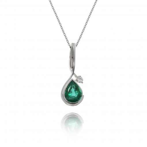 emerald diamond necklace 18ct white gold pendant aysmetric design statement piece evening wear