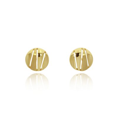 9ct yellow gold cut out zigzag studs earrings