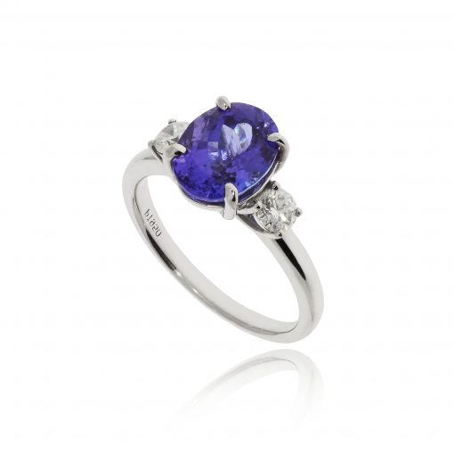 tanzanite diamond ring three stone platinum blue stone ring trilogy