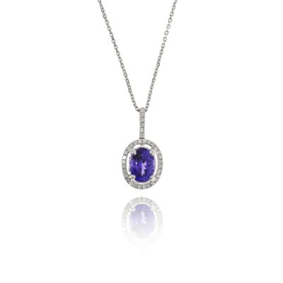 tanzanite blue stone necklace diamond halo statement necklace pendant white gold