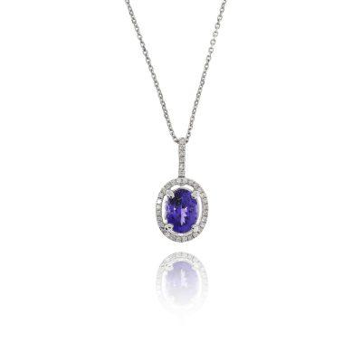 tanzanite blue stone necklace diamond halo statement necklace pendant white gold