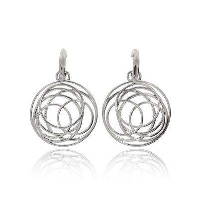 drop hoop diamond spiral earrings 9ct white gold unusual earrings evening wear