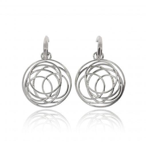 drop hoop diamond spiral earrings 9ct white gold unusual earrings evening wear