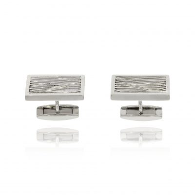 hinged etched silver cufflinks patterned wave deisgn