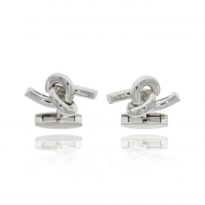 unusual knot cufflinks fun hinged silver polished cufflinks