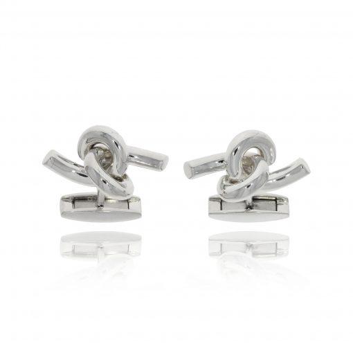 unusual knot cufflinks fun hinged silver polished cufflinks
