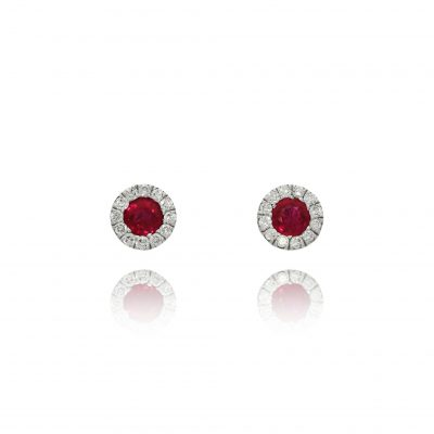 ruby diamond halo studs earrings white gold red earrings