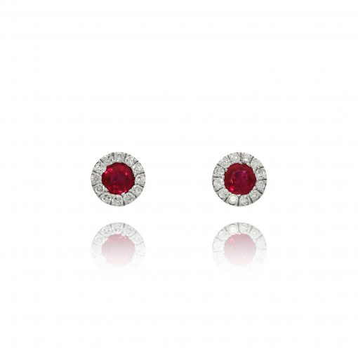ruby diamond halo studs earrings white gold red earrings