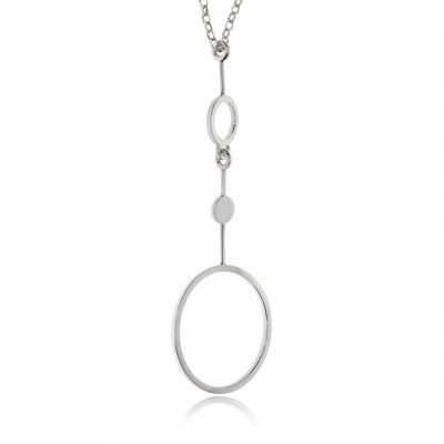 silver statement circle necklace large pendant fashion polihed