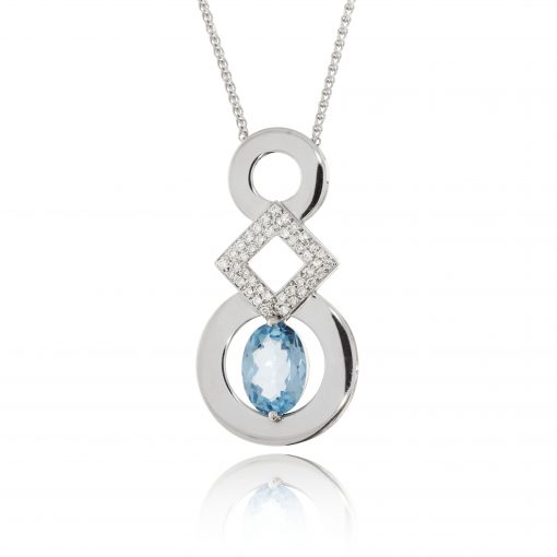topaz diamond pendant statement pendant necklace white gold diaond pave usuaual design couture