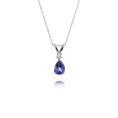 Dark deep blue pear shaped tanzanite and diamond traditional pendant necklace