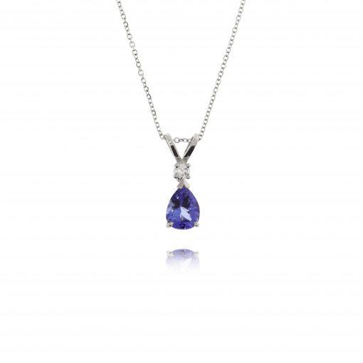 Dark deep blue pear shaped tanzanite and diamond traditional pendant necklace