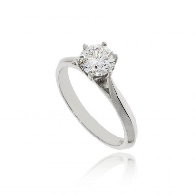 1ct diamond platinum ring white metal large diamond claw set
