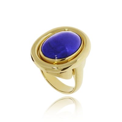 yellow gold lapis ring removable customisable interchangeble stone head