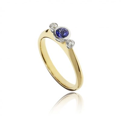 Simple classic modern blue sapphire yellow gold engagement ring