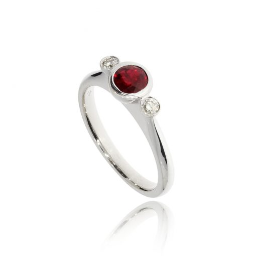 18ct white gold ruby and diamond classic simple contemporary engagement ring