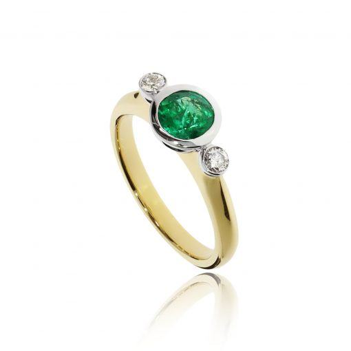Contemporary cup setting modern emerald and diamond engagement ring