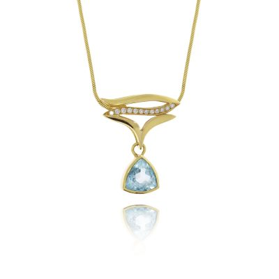 18ct yellow gold topaz diamond statement pendant flowing trillion cut blue stone triangle