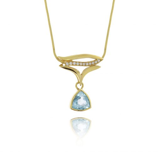 18ct yellow gold topaz diamond statement pendant flowing trillion cut blue stone triangle