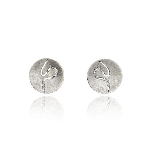 Matt brushed channel set diamond studs river 18ct white gold earrings