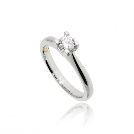 diamond ring engagement solitaire single stone latinum ring white metal traditional classic
