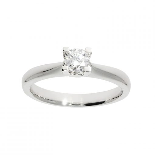 diamond ring four claw platinum white metal classic solitaire