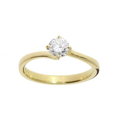 18ct yellow gold diamond engagement ring twised head settting unique ring