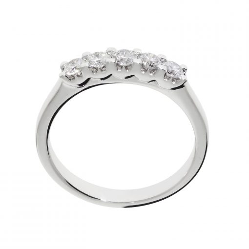 five stone ring diamond half eternity platinum ring white metal