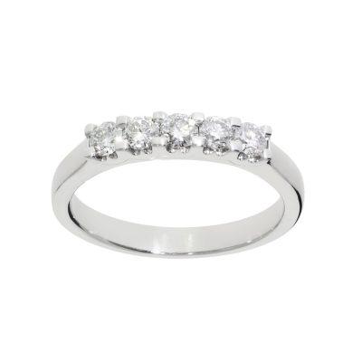 five stone ring diamond half eternity platinum ring white metal