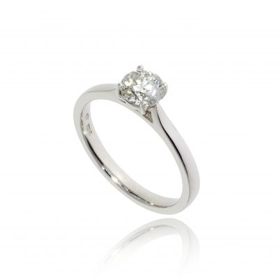 solitaire platinum white metal claw set round stone round brilliant classic engagement ring traditional