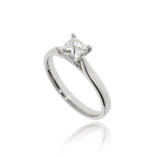 square diamond princess cut soliatire platinum engagement ring