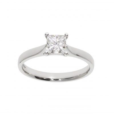 square stone diamond princess cut claw set white metal platinum ring