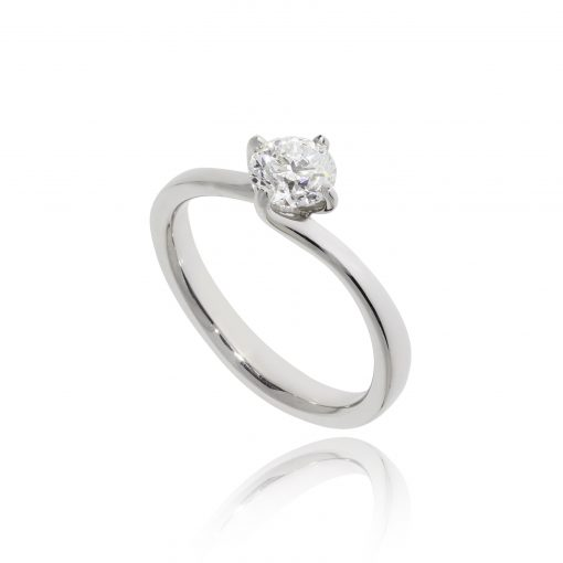 diamond engagement ring twisted setting platinum ring claw