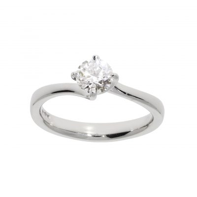 platinum ring engagement diamond solitaire round brilliant