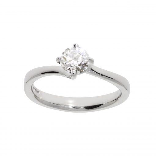 platinum ring engagement diamond solitaire round brilliant